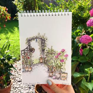 Commissioned drawing of a customer's garden done on site