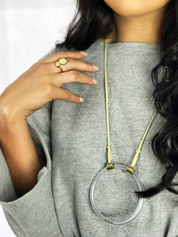 Magnetic ring and large Motion necklace - brass, plastic tubing, leather, magnets and steel ball bearings