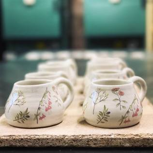 Floral print transferred on to mugs for Mother's day gifts